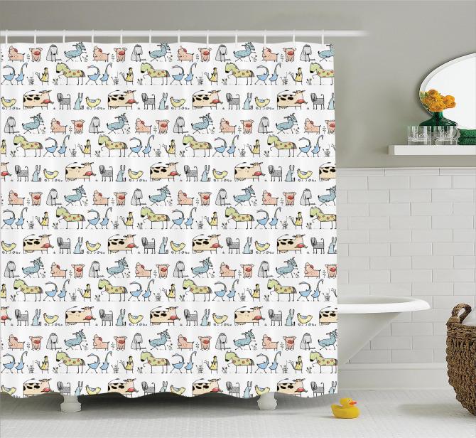 Çocuklara için Komik Hayvan Desenli Duş Perdesi