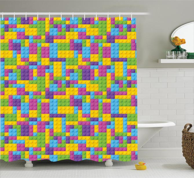 Çocuklar için Duş Perdesi Rengarenk Legolar Oyun
