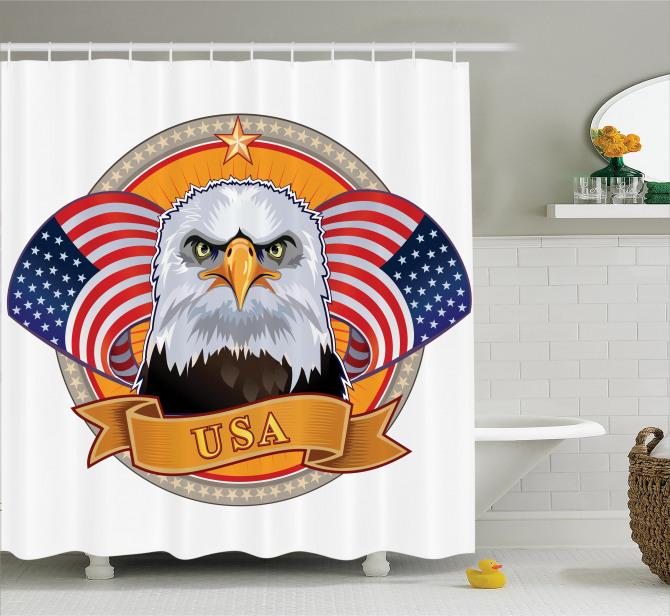 ABD Bayrakları Temalı Duş Perdesi Kartal Simgesi