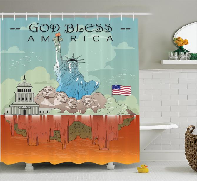 Amerika Temalı Duş Perdesi Özgürlük Heykeli USA