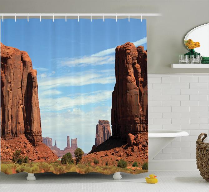 Monument Vadisi Baskılı Duş Perdesi USA Western