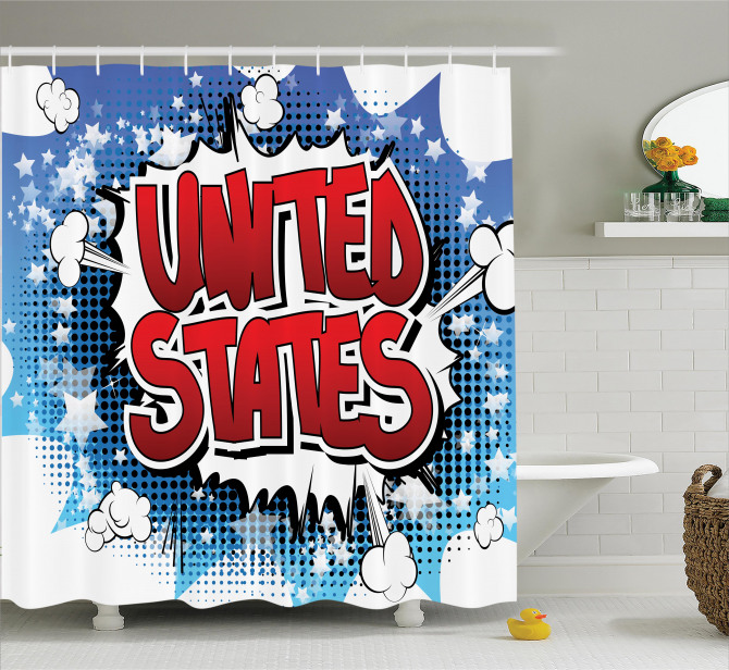 Çizgi Roman Tarzı Duş Perdesi Amerika Mavi Kırmızı