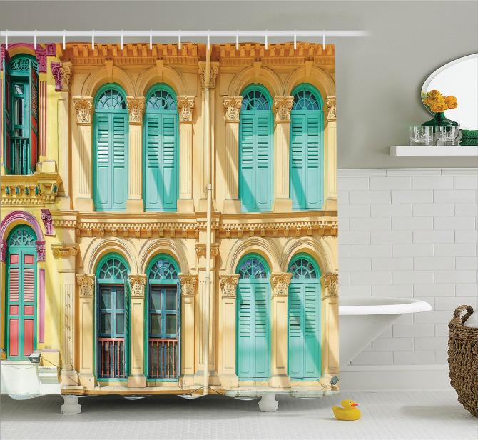 Nostaljik Duş Perdesi Eski Moda Kapı Pencere Temalı