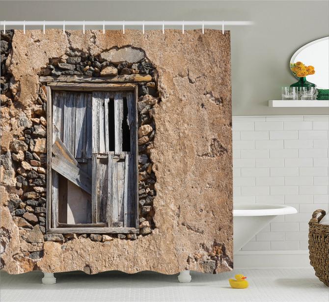 Köy Hayatı Temalı Duş Perdesi Antik Kahverengi