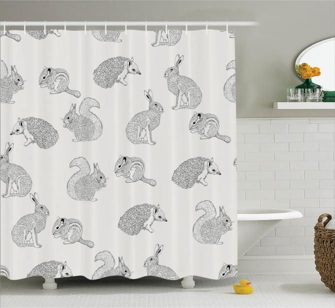 Karakalem Etkili Duş Perdesi Tavşan Sincap ve Kirpi
