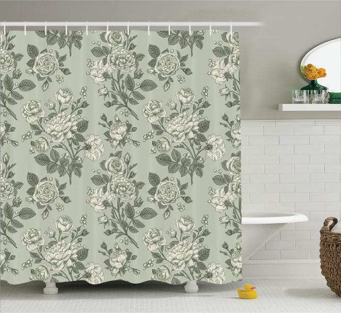 Yeşil Duş Perdesi Şık Tasarım Retro Gül Desenleri
