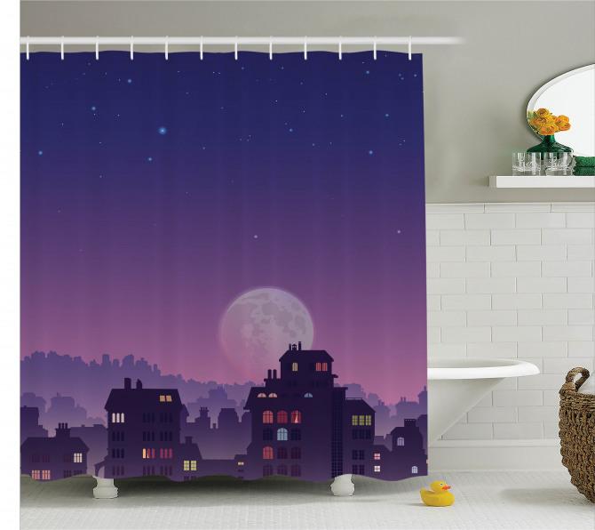 Şehir Manzaralı Duş Perdesi Ay Işığı Romantik