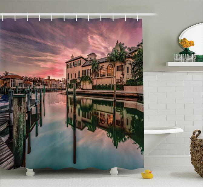 Venedik Kanalında Gün Doğumu Manzaralı Duş Perdesi