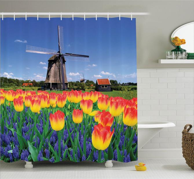 Lale Bahçesi Desenli Duş Perdesi Hollanda Değirmeni