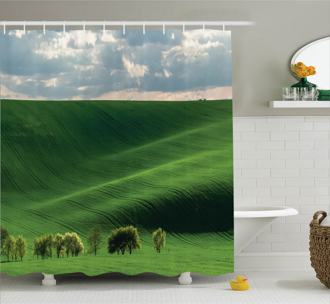 Uçsuz Bucaksız Çayır Duş Perdesi Yeşil Doğa Ağaçlar