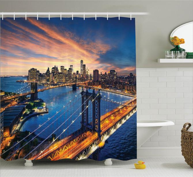 New York Gün Doğumu Manzaralı Duş Perdesi Nehir