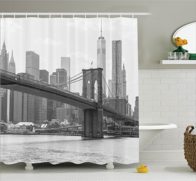 Gri Duş Perdesi Nostaljik New York Manzarası ABD