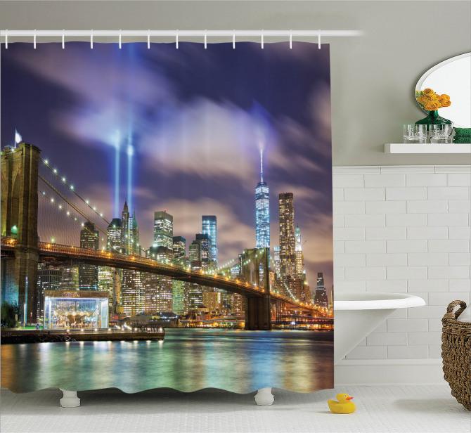 New Yok Manzaralı Duş Perdesi Şehir Işıkları Köprü