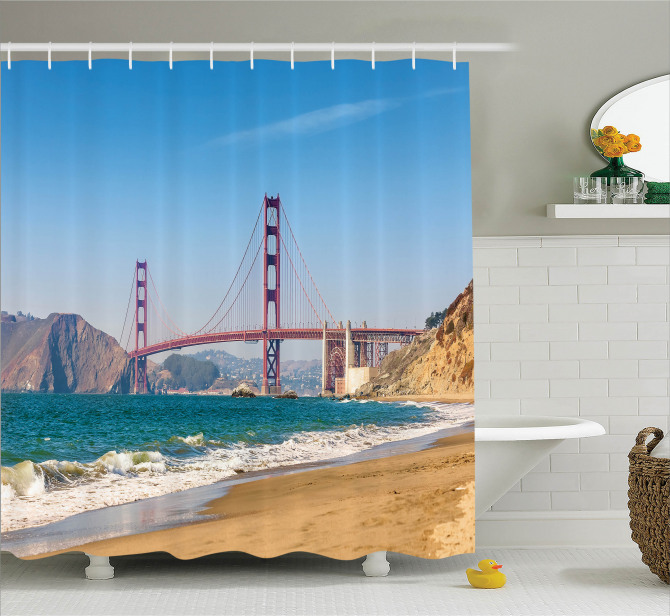 Kaliforniya Sahili Manzaralı Duş Perdesi Kumsal Mavi