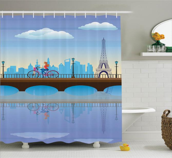 Paris'te Gezinti Temalı Duş Perdesi Eyfel Kulesi
