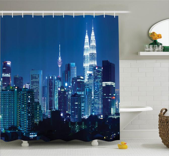 Kuala Lumpur Manzaralı Duş Perdesi Şehir Işıkları
