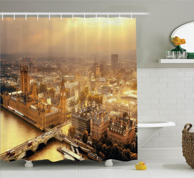 Londra Havadan Görünümlü Duş Perdesi Gün Doğumu Sarı