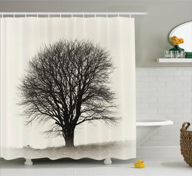 Yalnız Ağaç Temalı Duş Perdesi Doğada Sonbahar Gri