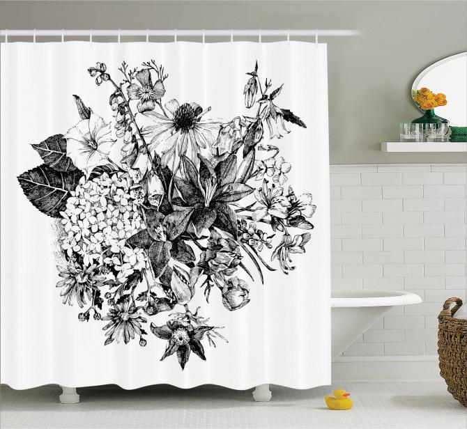 Çiçek Buketi Desenli Duş Perdesi Romantik Siyah