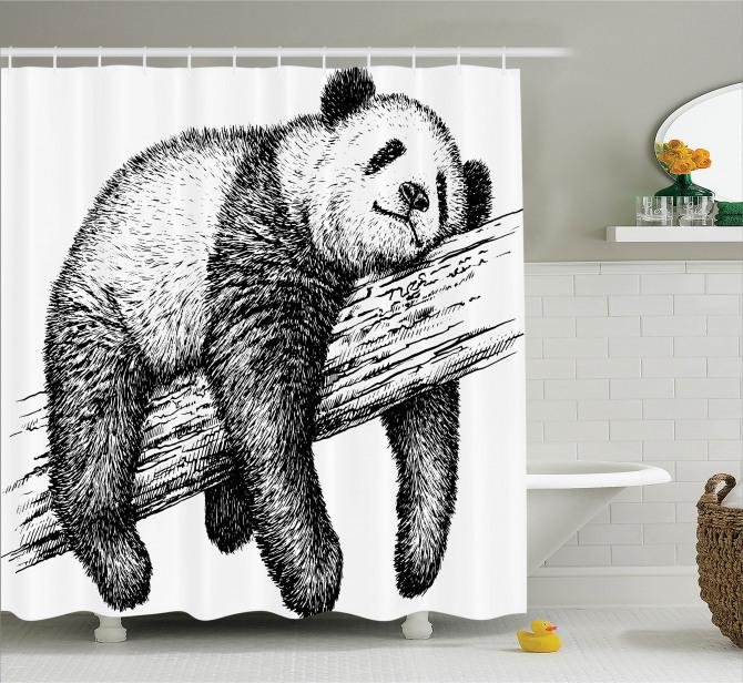 Karakalem Panda Desenli Duş Perdesi Siyah Beyaz