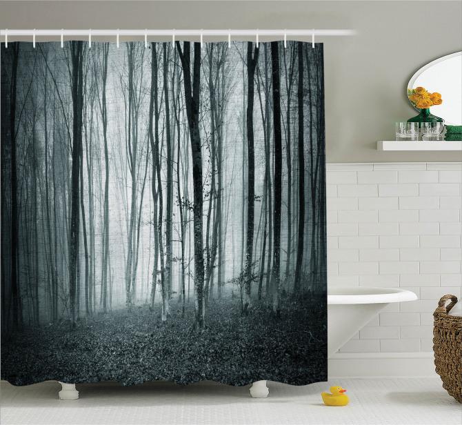 Orman Temalı Duş Perdesi Sonbahar Dökülen Yapraklar