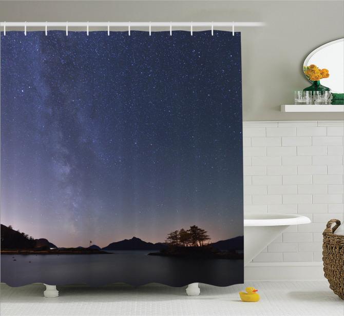 Samanyolu Galaksisi Temalı Duş Perdesi Yıldızlar