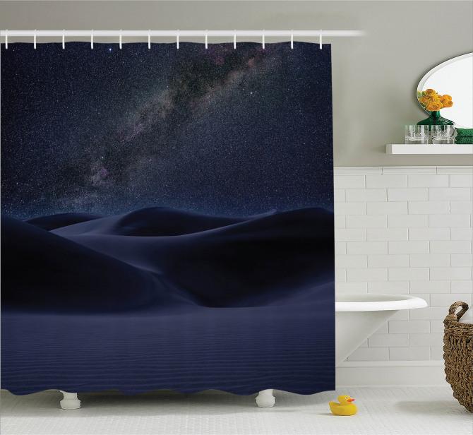 Çölde Gece Gökyüzü Temalı Duş Perdesi Samanyolu