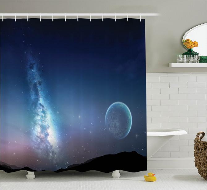 Samanyolu Galaksisi Temalı Duş Perdesi Uzay Kozmos