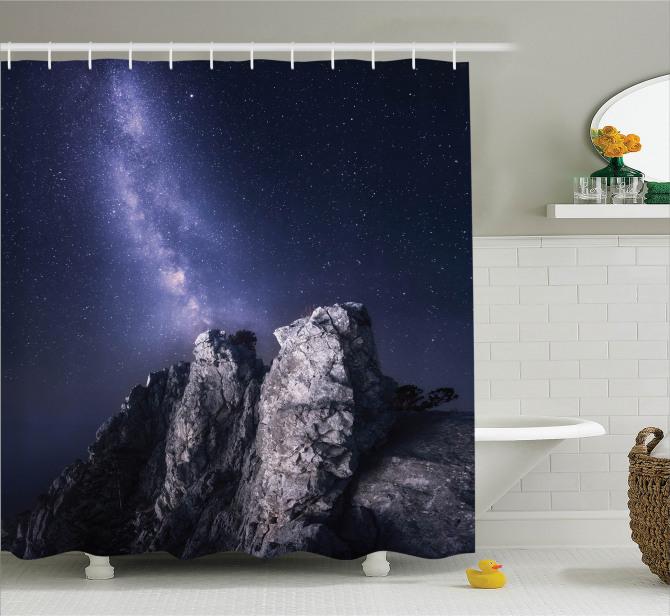 Kayalar ve Yıldızlı Gökyüzü Temalı Duş Perdesi Siyah
