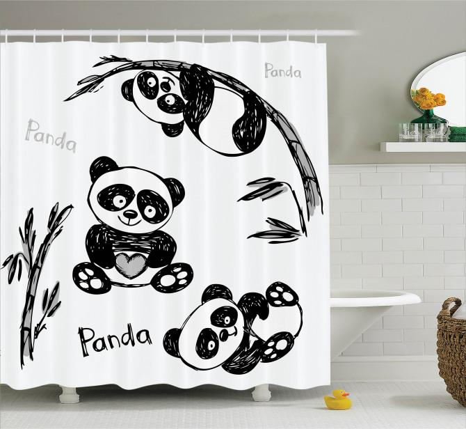 Çocuklar için Duş Perdesi Bebek Panda Bambu Ağacı