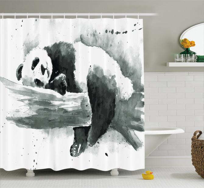 Suluboya Etkili Duş Perdesi Uyuyan Panda Siyah Beyaz
