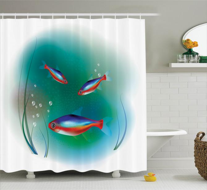 Süslü Balık Desenli Duş Perdesi Rengarenk Sualtı