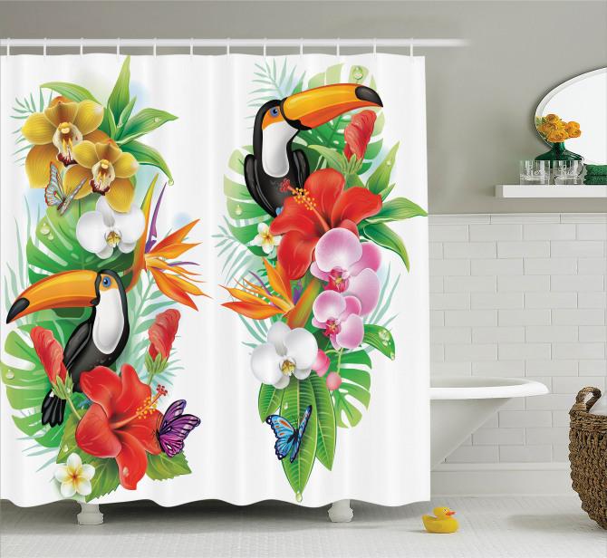 Tropikal Çiçek Temalı Duş Perdesi Egzotik Hayvanlar