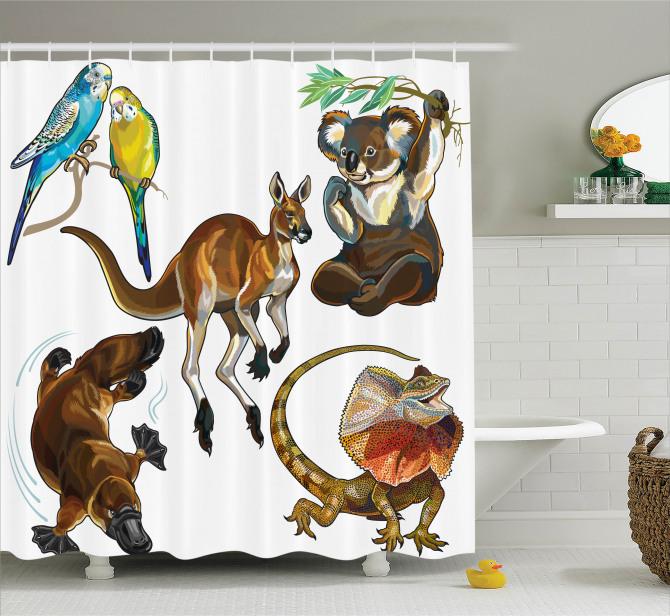 Avustralya Hayvanları Duş Perdesi Koala Kanguru