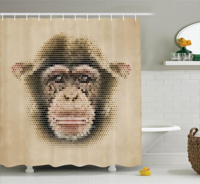 Şık Tasarım Duş Perdesi Maymun Figürü Kahverengi
