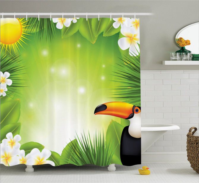 Tropikal Yaşam Temalı Duş Perdesi Güneş Çiçekler