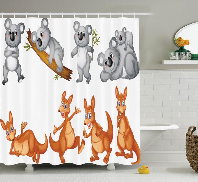 Çocuklar İçin Duş Perdesi Sevimli Koala ve Kanguru
