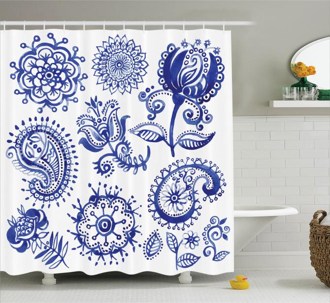 Suluboya Etkili Duş Perdesi Çiçek Desenleri Mandala