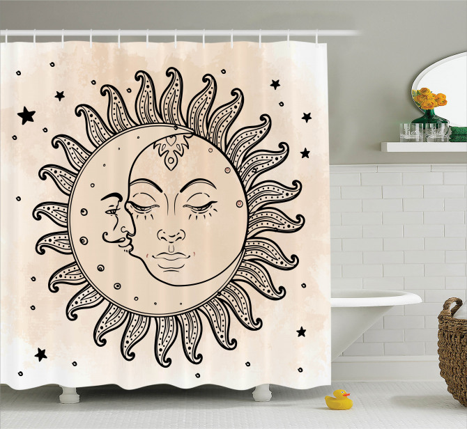 Bej Duş Perdesi Güneş Ay ve Yıldızlar Rüya Retro