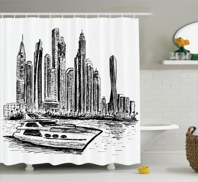 Karakalem Modern Şehir Duş Perdesi Gökdelenler Tekne