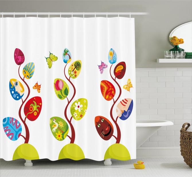 Çocuklar için Duş Perdesi Rengarenk Büyülü Ağaç