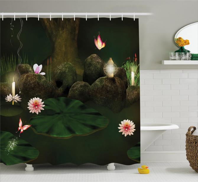 Mistik Orman Baskılı Duş Perdesi Çiçekler Kelebekler