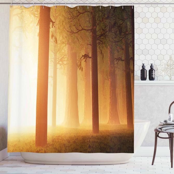Sihirli Orman Temalı Duş Perdesi Sisli Puslu Doğa
