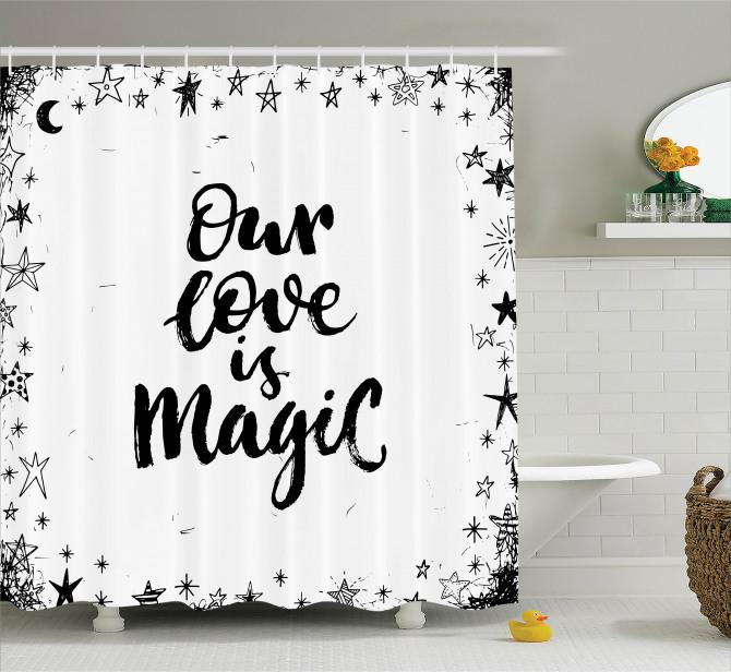 İlham Verici Duş Perdesi Romantik Aşk Siyah Beyaz