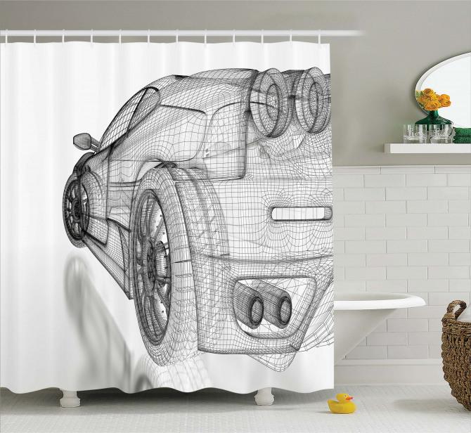 Üç Boyutlu Etkili Duş Perdesi 3D Araba Siyah Beyaz