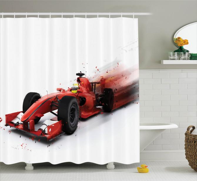 Yarış Arabası Desenli Duş Perdesi Motor Sporları