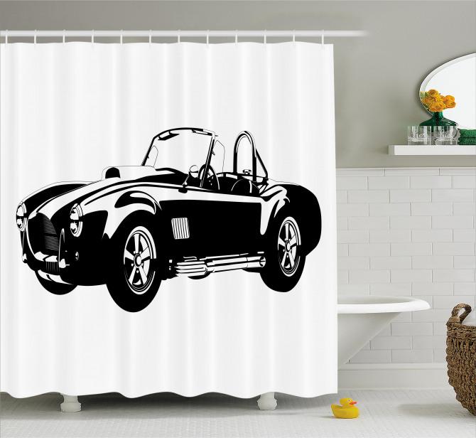 Nostaljik Duş Perdesi Siyah Klasik Araba Temalı