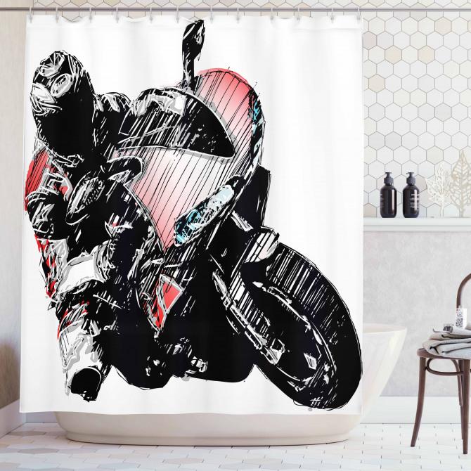 Karakalem Etkili Duş Perdesi Motosiklet Yarışçısı