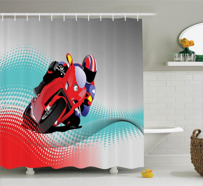 Motosiklet Desenli Duş Perdesi Motor Sporları Gri