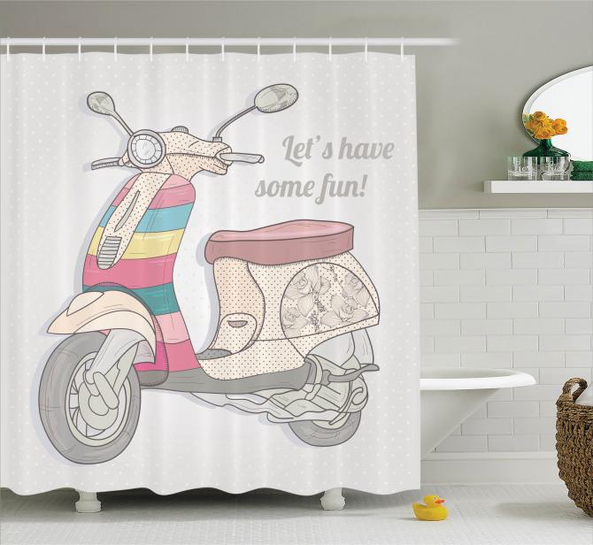 Nostaljik Motosiklet Desenli Duş Perdesi Rengarenk